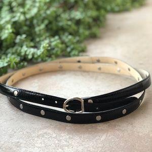 Longchamp Black Patent Leather Wrap Belt